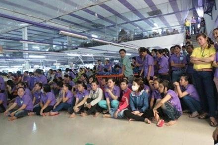 Công nhân Cty Thuận Phương ngừng việc ngày 10.7