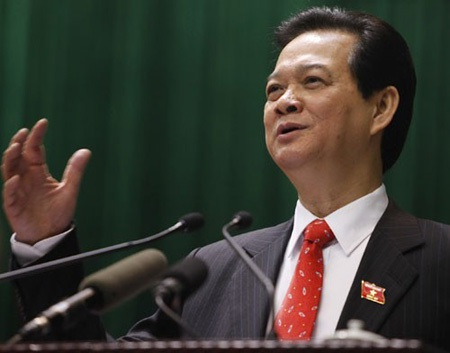 Thủ tướng Nguyễn Tấn Dũng nhấn mạnh thông điệp quyết liệt đổi mới trong năm 2014 (ảnh: Việt Hưng).