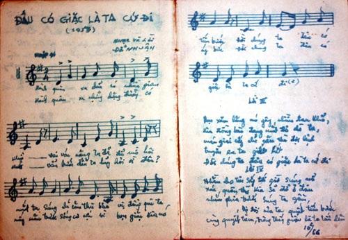 Một trang sổ chép bài hát