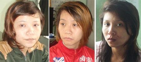 Các đối tượng Hà, Trinh và Hạnh tại cơ quan điều tra CA huyện Thống Nhất.