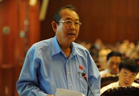 Chánh án TAND tối cao Trương Hòa Bình tại diễn đàn Quốc hội.