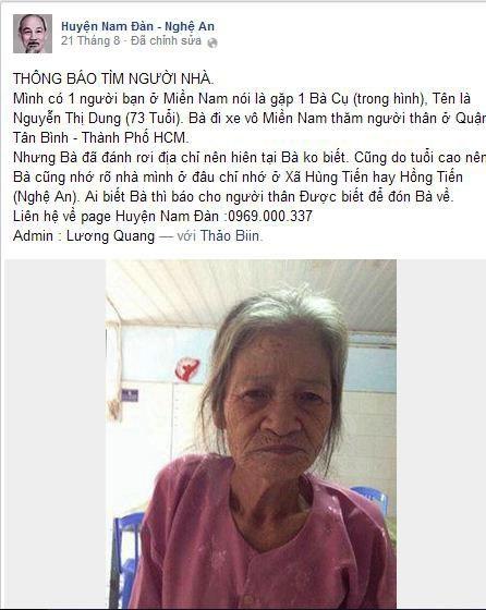 Bà Nguyễn Thị Dung (73 tuổi, quê tỉnh Nghệ An) đi từ Tây Nguyên xuống TP HCM thì bị lạc