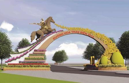 Phối cảnh cổng chính dẫn vào Đường hoa Trấn Biên 2014