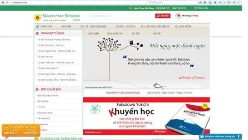 Giao diện website của SachhayStore.com