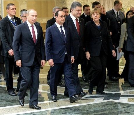 Lãnh đạo 4 nước Nga, Ukraine, Pháp, Đức đã nhất trí một thỏa thuận ngừng bắn. (Ảnh: