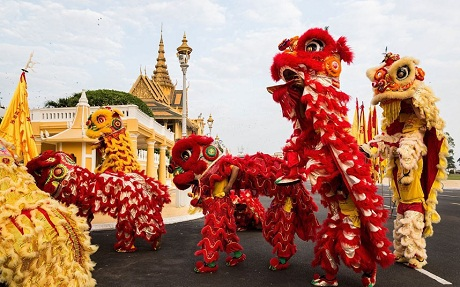Múa lân tại Bắc Kinh, Trung Quốc trong những ngày Tết đến, xuân về. (Ảnh:
