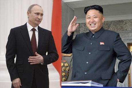 Tổng thống Nga Putin và lãnh đạo Triều Tiên Kim Jong-un. (Ảnh: