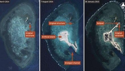Đá Gaven chụp vào thời điểm tháng 3/2014, tháng 8/2014 và 0/1/2015. (Ảnh: