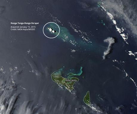 Hình ảnh chụp từ vệ tinh cho thấy vị trí của hòn đảo mới hình thành. (Ảnh