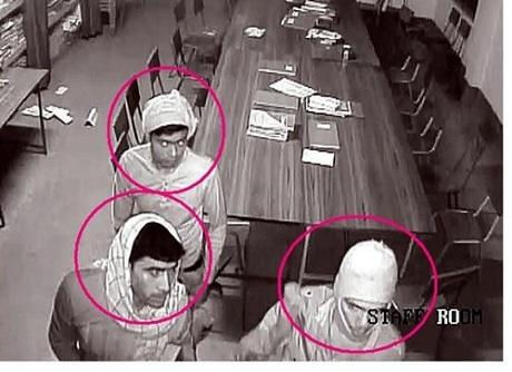 Những nghi can bị bắt giữ không giống 4 tên đã quay lại được trong camera an ninh. (Ảnh: