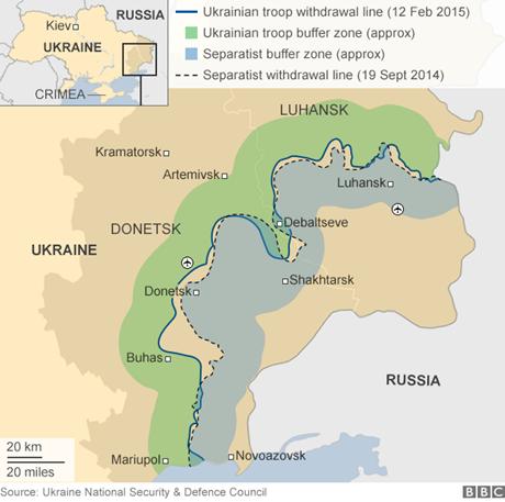 Khu vực giao tranh giữa quân đội chính phủ và phe ly khai ở miền đông Ukraine.