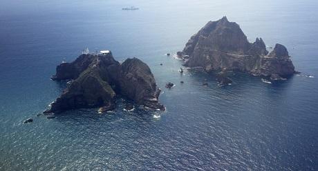 Quầnđảo Takeshima/Dokdo nhìn từ trên cao. (