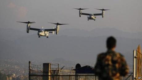 Mỹ cử 2 trực thăng và 4 máy bay Ospreys tới Nepal để hỗ trợ công tác cứu trợ thảm họa. (Ảnh: