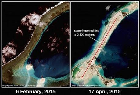 Hình ảnh chụp bãi đá Xu Bi từ vệ tinh ngày 6/2 (trái) và ngày 17/4 (phải).
