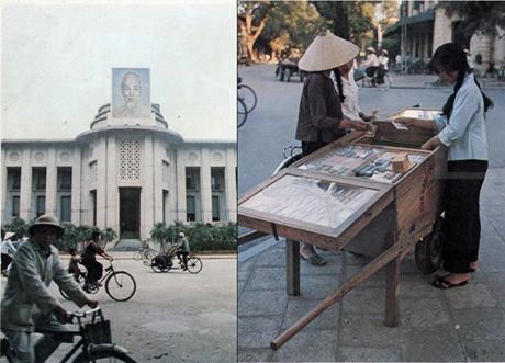 Trụ sở của Ngân hàng Nhà nước Việt Nam (phải) và một quầy mậu dịch trên vỉa hè Hà Nội (trái).