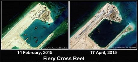 Hình ảnh chụp đá Chữ Thập ngày 14/2 (trái) và 17/4 (phải).(Ảnh: