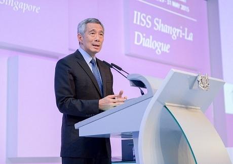 Thủ tướng Singapore Lý Hiển Long phát biểu khai mạc Đối thoại Shangrila 2015. (Ảnh: