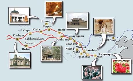 Bản đồ con đường tơ lụa. (Ảnh: