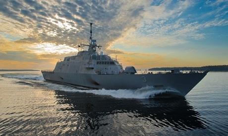Tàu chiến cận bờ Fort Worth hoạt động tại khu vực. (Ảnh: