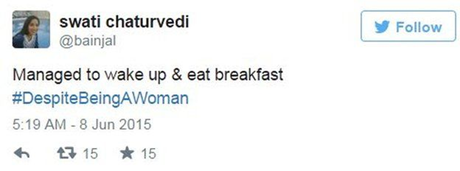 """Một người dùng Twitter viết: """"Cố gắng thức dậy và ăn sáng cho dù là một phụ nữ"""". (Ảnh:"""