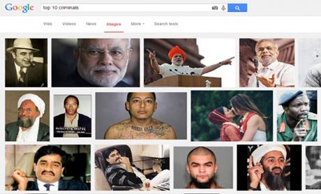 """Hình ảnh của Thủ tướng Ấn Độ xuất hiện khi gõ yêu cầu tìm kiếm """"10 tội phạm hàng đầu"""". (Ảnh:"""