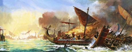 Hình minh hoạ trận hải chiến Salamis. (Ảnh