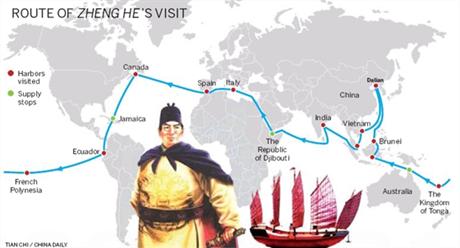 Hình đô đốc Trịnh Hoà và các tuyến đường ông đã đi qua.
