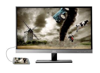 Công nghệ MHL độ nét cao cho phép kết nối thiết bị di động với màn hình AOC.