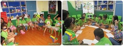 Hình ảnh giờ học kỹ năng sống với công nghệ 3D và thảo luận nhóm của trẻ 7 tuổi - 10 tuổi.