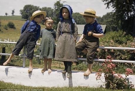 4 em bé chơi bên hàng rào trong một ngày hè ở bang Pennsylvania năm 1941.