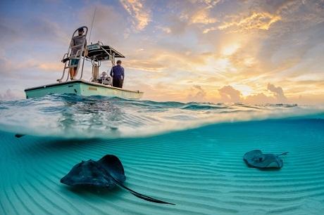 Câu cá – Hai cha con đang câu cá lúc mặt trời lặn trên hồ Inle ở Myanmar.