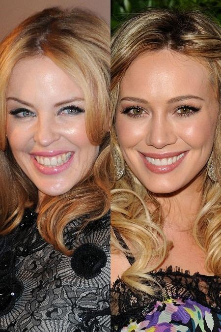 Nữ ca sĩ Kylie Minogue và nữ diễn viên Hilary Duff giống nhau đến mức khó tin.