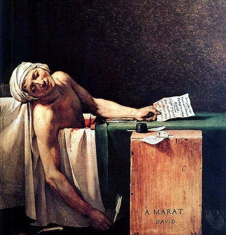 Bức tranh cái chết của Marat do họa sĩ Jacques-Louis David vẽ năm 1793
