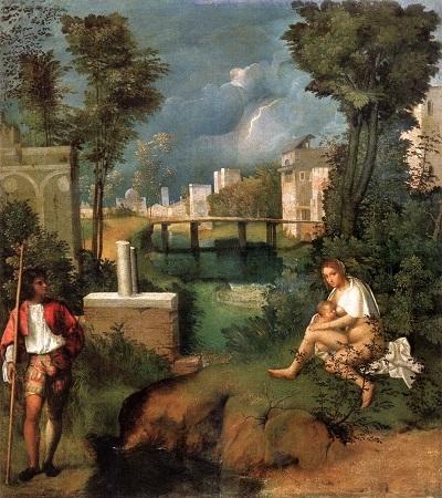 """Bức """"The Tempest"""" (Giông tố) vẽ năm 1505-1508, trưng bày tại Triển lãm Accademia, Florence, Ý."""
