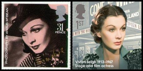Tem bưu chính của Anh in hình Vivien Leigh năm 1985 và 2013