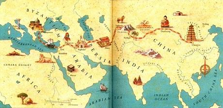 Phương tiện đi lại trên con đường Tơ Lụa lúc đó chủ yếu dựa vào gia súc với voi, ngựa, lạc đà...