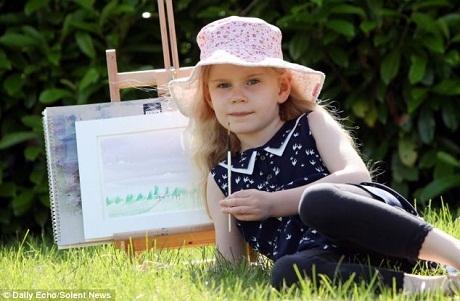 Bất ngờ trước tranh của bé gái 5 tuổi có chỉ số IQ khủng