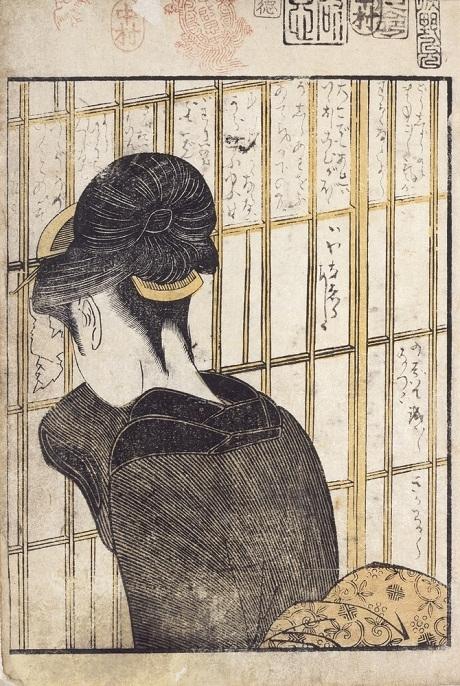 """Tác phẩm """"Sương trên cành cúc"""" của họa sĩ Kitagawa Utamaro (1754-1806)."""