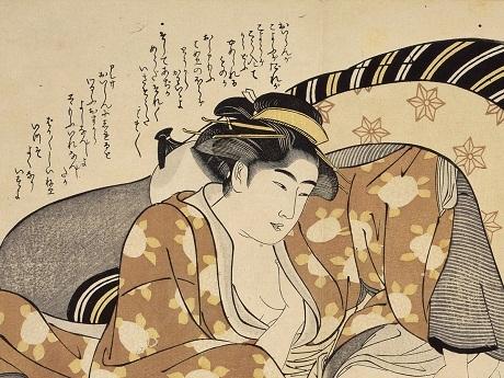 """Tác phẩm """"Sự quyến rũ của phục trang"""" của họa sĩ Katsukawa Shuncho (1775-1800)."""