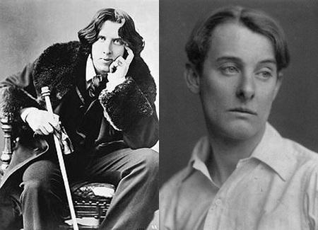 Chân dung nhà văn Oscar Wilde (trái) và người tình Alfred Douglas (phải).