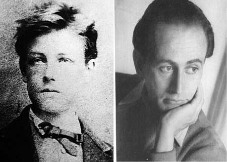 Chân dung nhà thơ Arthur Rimbaud (trái) và Paul Verlaine.