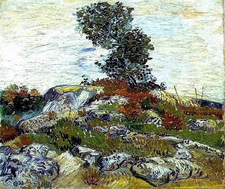 """Chất vải của bức """"Hoàng hôn ở Montmajour"""" giống hệt bức """"Những hòn đá""""."""