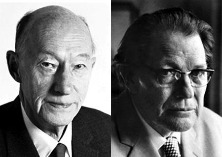 Chân dung hai nhà văn Eyvind Johnson và Harry Martinson.