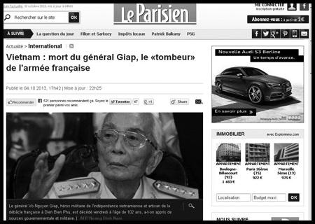 Báo Pháp- Báo Mỹ ca ngợi Tướng Giáp nhiều nhất