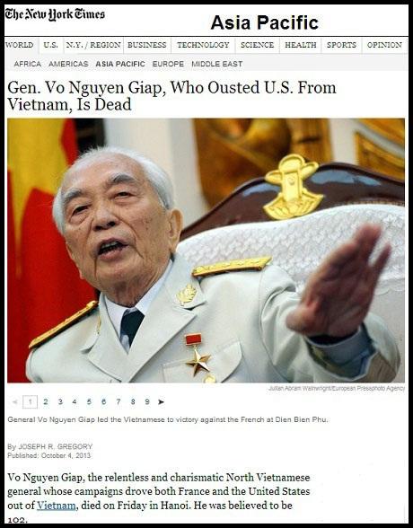 Đại tướng Võ Nguyên Giáp, người đã hất cẳng Mỹ ra khỏi Việt Nam đã qua đời - Tờ
