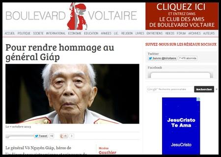 """Bài đăng trên báo Boulevard Voltaire: """"Vinh danh Tướng Giáp""""."""