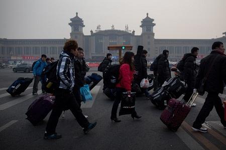 Trước ga tàu hỏa ở thành phố Bắc Kinh.