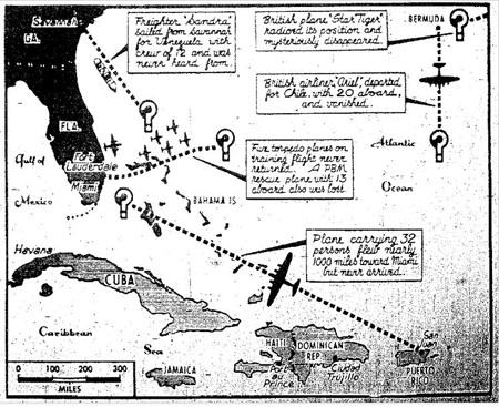 Bản đồ cho thấy vị trí của Tam giác Bermuda