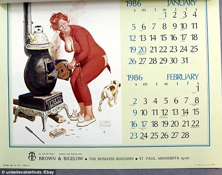 Một cuốn lịch với những hình minh họa tếu táo của nhà xuất bản Brown and Bigelow (Mỹ).