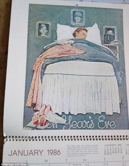 Cuốn lịch năm 1986 với những hình vẽ hài hước của họa sĩ người Mỹ Norman Rockwell.